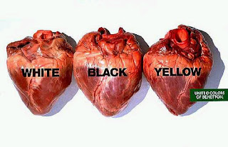 3 similar hearts labeled white, black, yellow