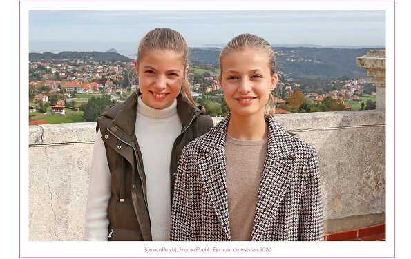 Crown Princess Leonor wore a checked coat from Springfield, Infanta Sofia wore a khaki puffer gilet from Zara. Massimo Dutti beige cashmere sweater