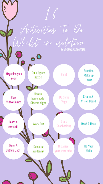 pinterest graphic that has a purple background and 16 activities you can do in isolation written on it in white
