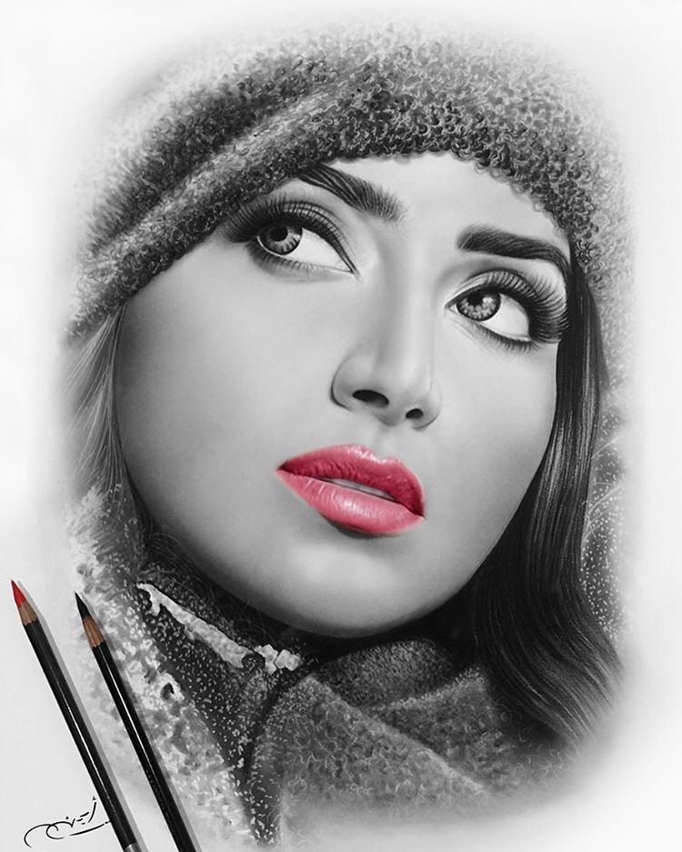 17-Pink-Lipstick-aymanarts-Realistic-Drawings-of-Celebrities-and-Other-www-designstack-co