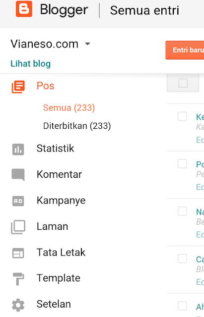 fitur dan menu blog