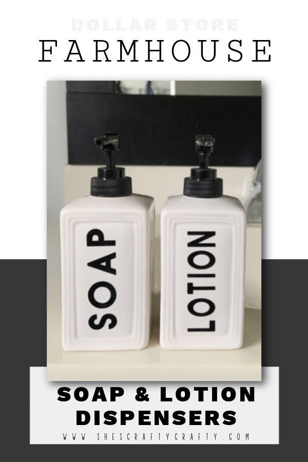 Idea for DIY Farmhouse Soap and Lotion Dispensers, pinterest pin.