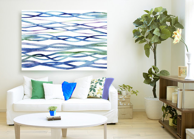 Organic Watercolor Waves Lines In Interior Decor