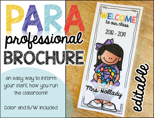 Paraprofessional brochure to help everyone in the special needs classroom stay on the same page