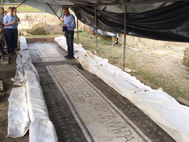 Monumental inscription and rare mosaic found at Roman Baths of Aquinum