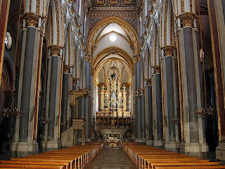 The beautiful interior of the church of San Domenico Maggiore, founded by Dominican friars