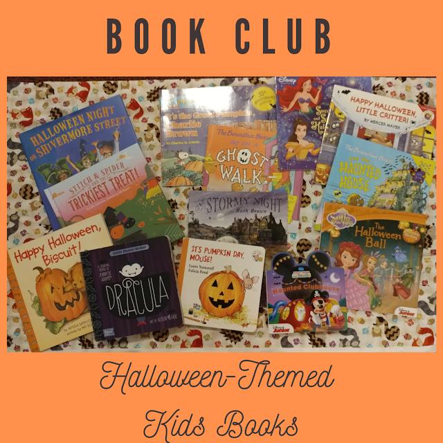 photos of Children's Halloween-themed books; text: book club: Halloween-themed books
