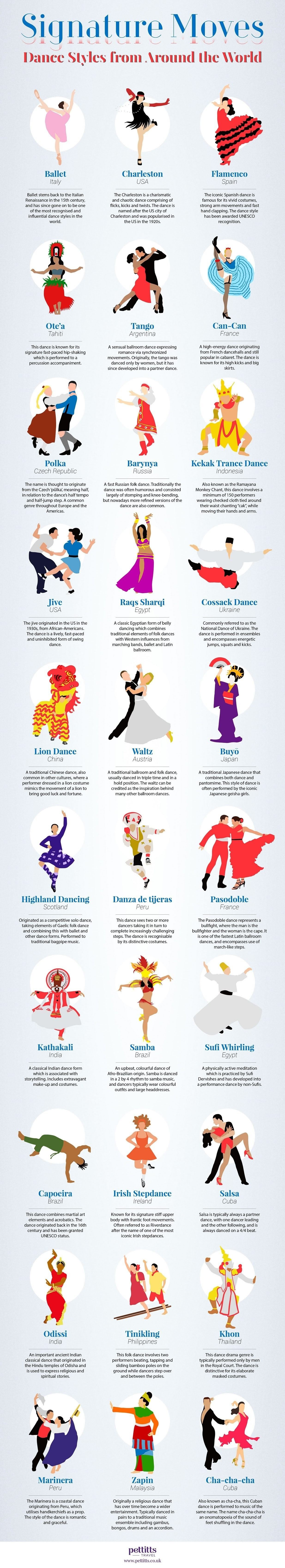 Signature Moves Dance Styles from Around the World #infographic
