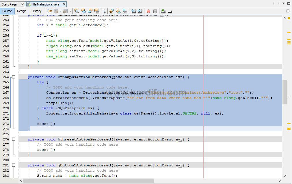memberikan source code pada tombol hapus