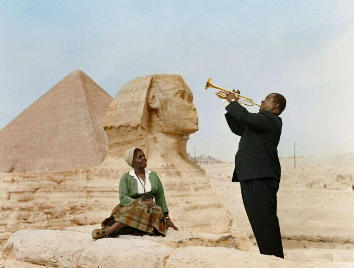 #11 Louis Armstrong Playing For His Wife, Egypt, 1961