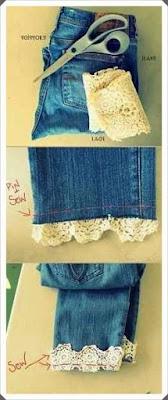 Dantel ile Kot Pantolon Paçası Kıvırma Yapımı, Resimli Açıklamalı 1