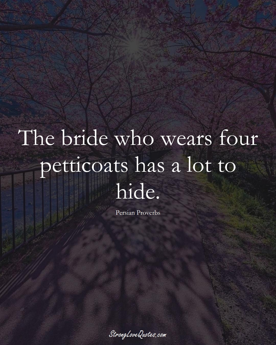 The bride who wears four petticoats has a lot to hide. (Persian Sayings);  #aVarietyofCulturesSayings