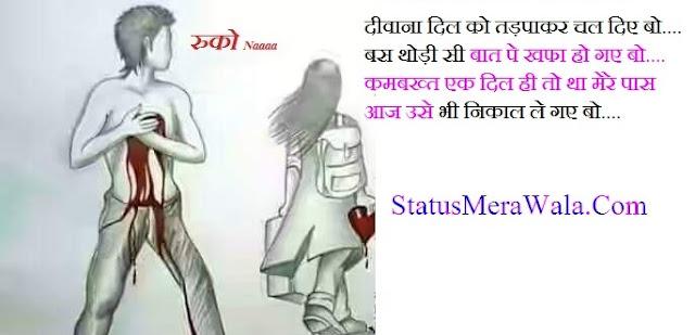 sed status, sad status in hindi in one line, sad status in hindi with photo, status on sad mood in hindi, friendship sad status in hindi, heart touching sad status in hindi, sad love status in hindi, दीवाना दिल को तड़पाकर चल दिए बो-बस थोड़ी सी बात पे खफा हो गए बो-कमबख्त एक दिल ही तो था मेरे पास आज उसे भी निकाल ले गए बो