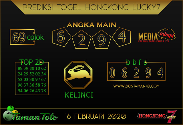 Prediksi Togel HONGKONG LUCKY 7 TAMAN TOTO 15 FEBRUARY 2020