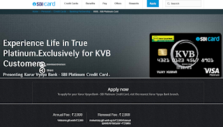 Karur Vysya Bank - SBI Platinum Credit Card, How to Apply SBI Credit Card Online