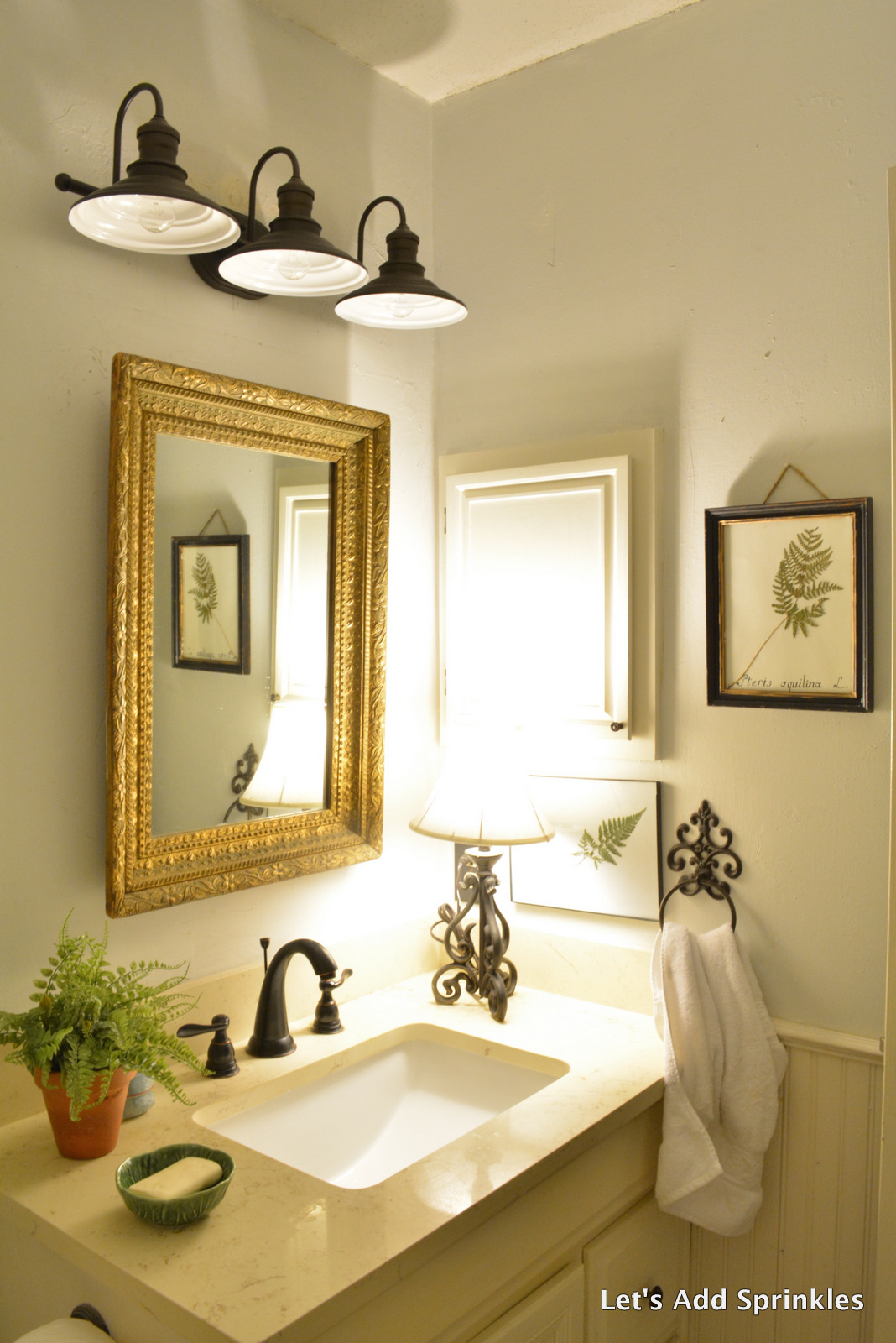 Let 39 s add sprinkles farmhouse light for the bathroom for Farmhouse bathroom light fixtures