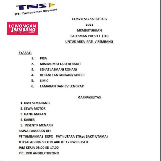 Lowongan Kerja Salesman Presell PT Tumbakmas Niaga Sakti Semarang Area Rembang Pati