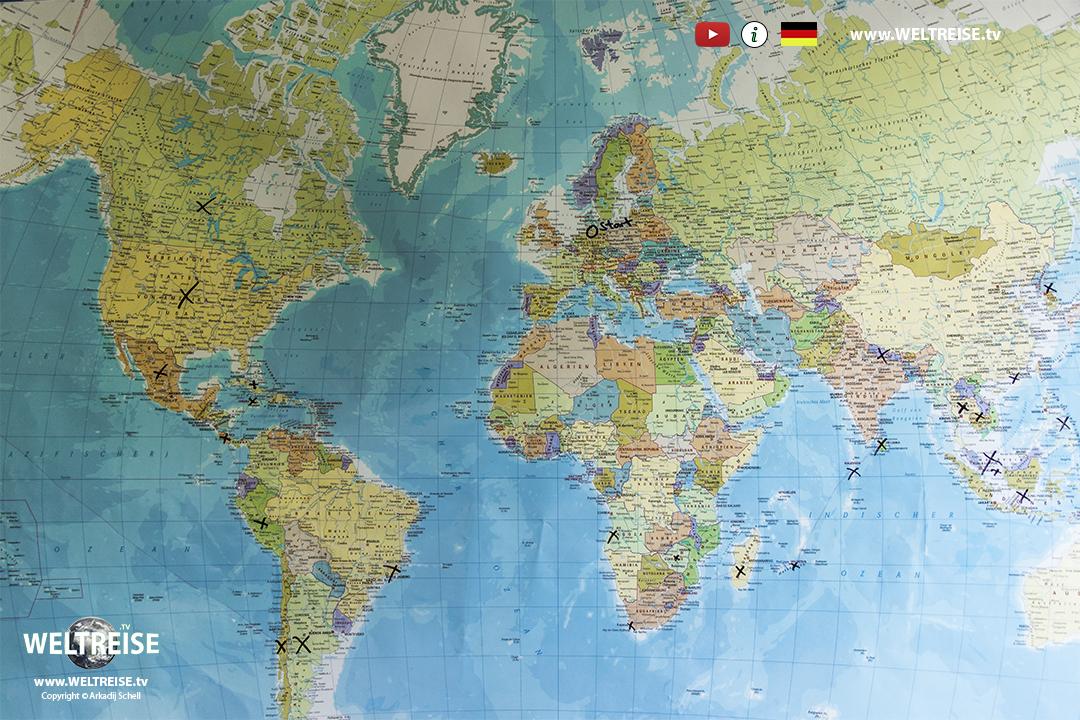 Weltreise karte route 2020 www.WELTREISE.tv