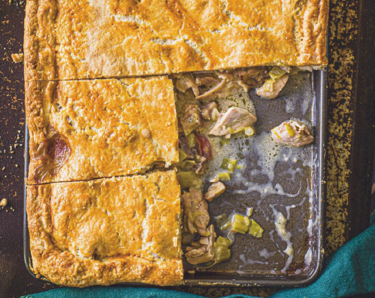 Chicken, mushroom and bacon slab pie