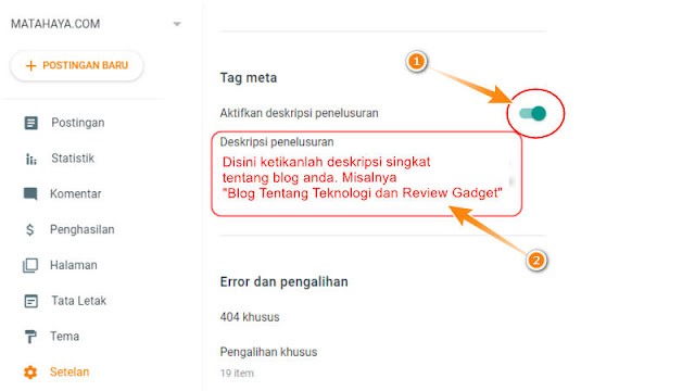 cara memasang meta deskripsi di blogger blogspot