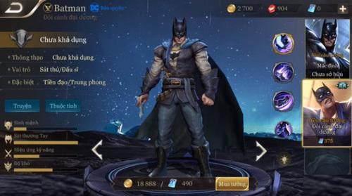 Batman là vị tướng có vẻ dồn sát thương nhanh lẹ, mạnh