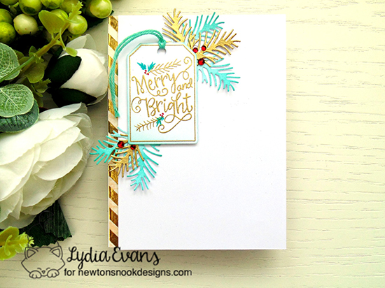 Merry and Bright Tag Card by Lydia Evans | Joyful Tags stamp set & Tags Times Two Die Set by Newton's Nook Designs #newtonsnook