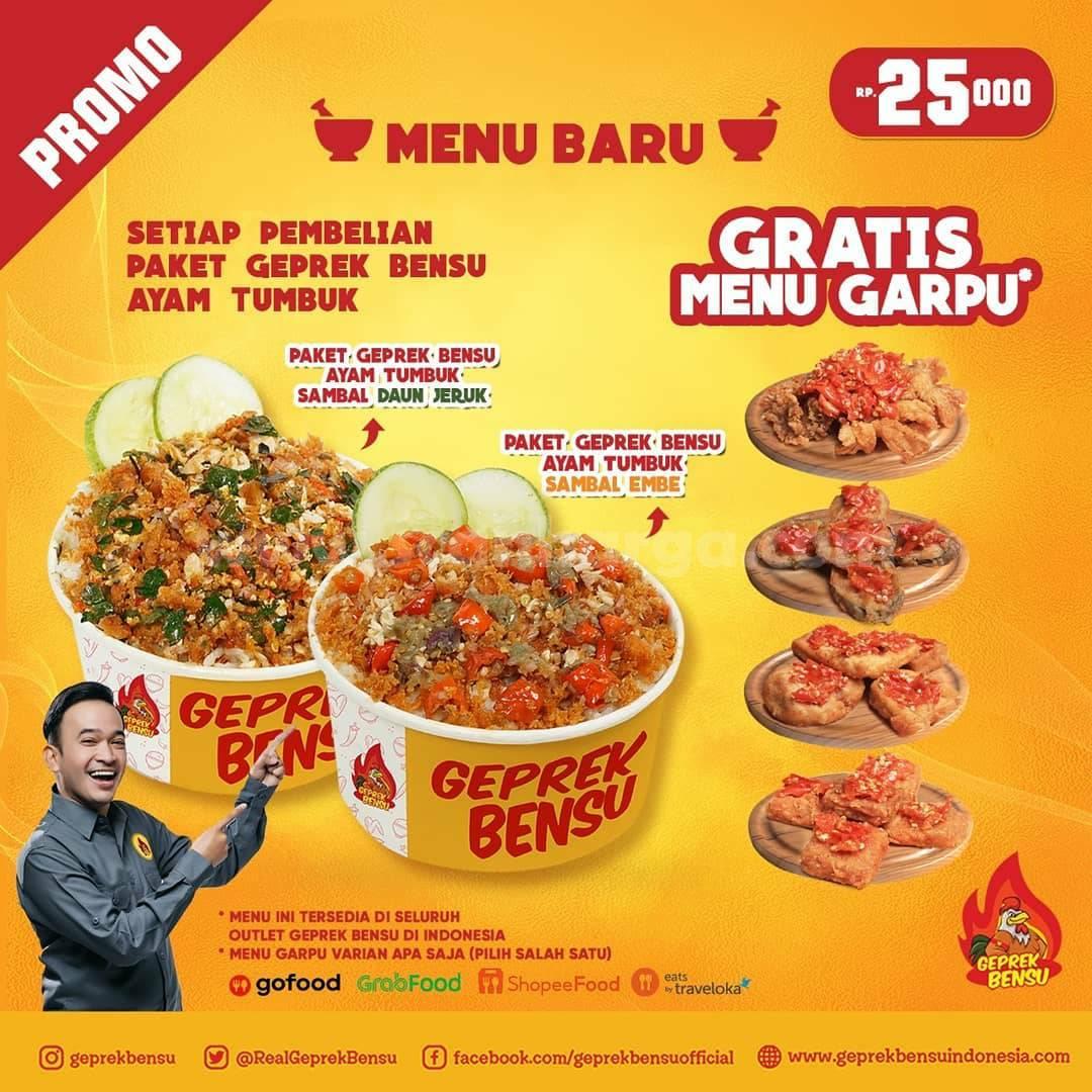 Promo GEPREK BENSU - Beli Paket Ayam Tumbuk Gratis Menu Garpu