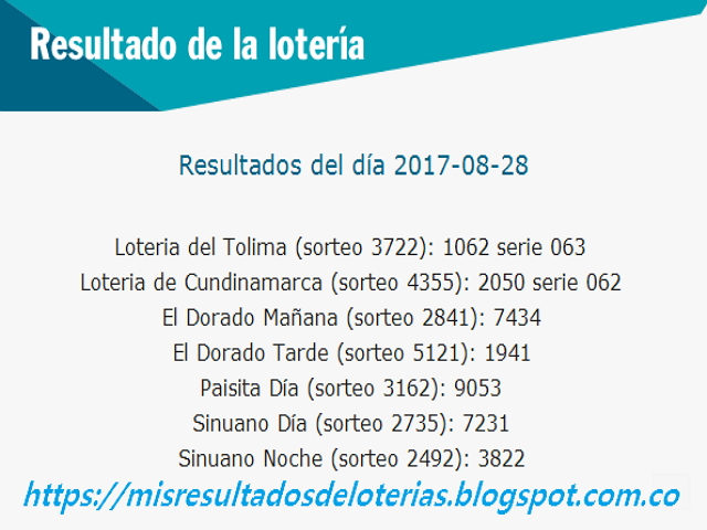 Como jugo la lotería anoche | Resultados diarios de la lotería y el chance | resultados del dia 28-08-2017