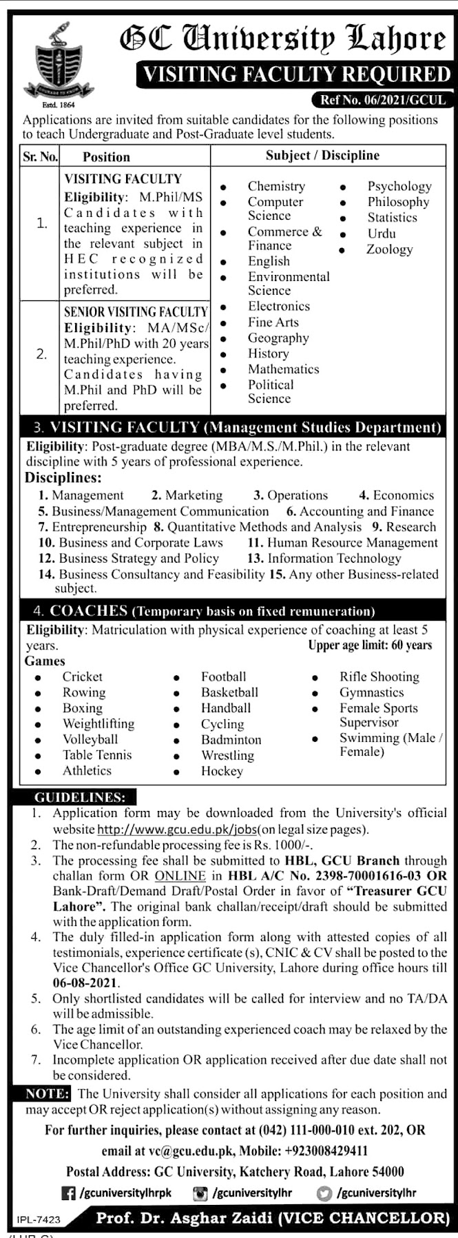 GC University Lahore Government Jobs in Punjab Latest - Download Application From