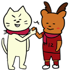 Red and deer supporter cat(foot ball)