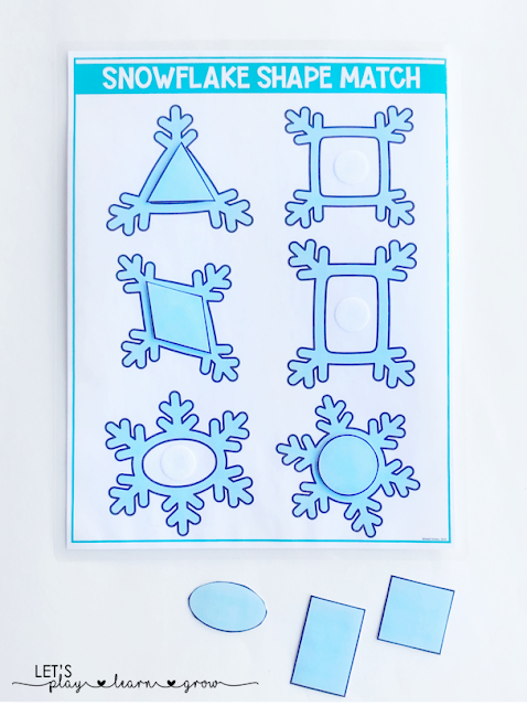 Practice matching 2D shapes with snowflake shapes with this hands on interactive shape matching activity