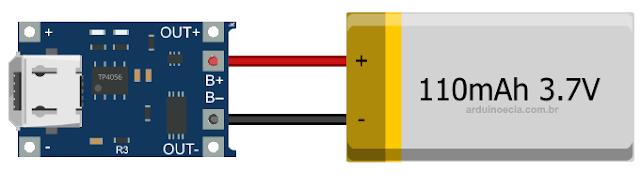 Conexão módulo TP4056 e bateria de lítio