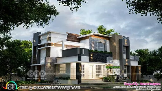 3d rendering of flat roof style Villa type A