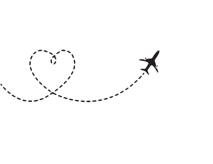 Heart Airplan Black Line Background fee png by pngkh.com