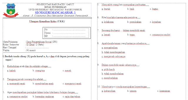 Soal UKK IPS Kelas 2 SD