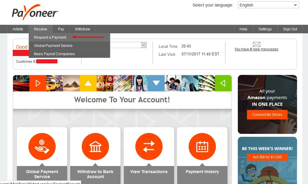 Payoneer receive Payment Request