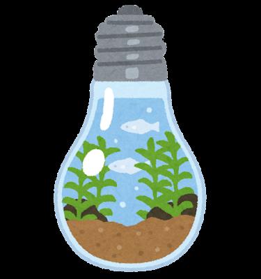 ボトルアクアリウムのイラスト(電球)