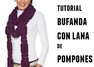 Bufanda con lana de pompones tutorial