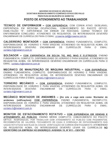 VAGAS DE EMPREGO DO PAT BARRETOS PARA 05-08-2020 PUBLICADAS NA TARDE DE 04-08-2020 PAG. 2