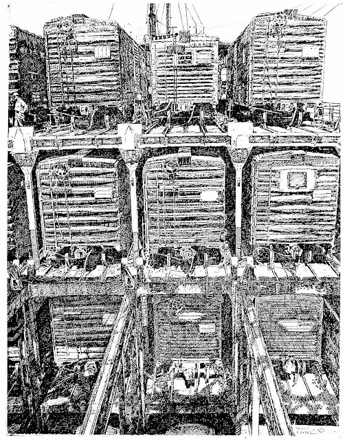 a Philip Kappel print of stacked rail cars