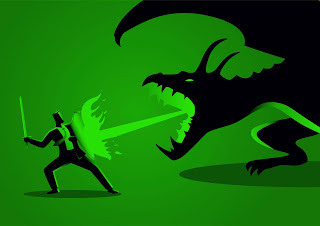Clipart of a Man fending off a fire-breathing dragon