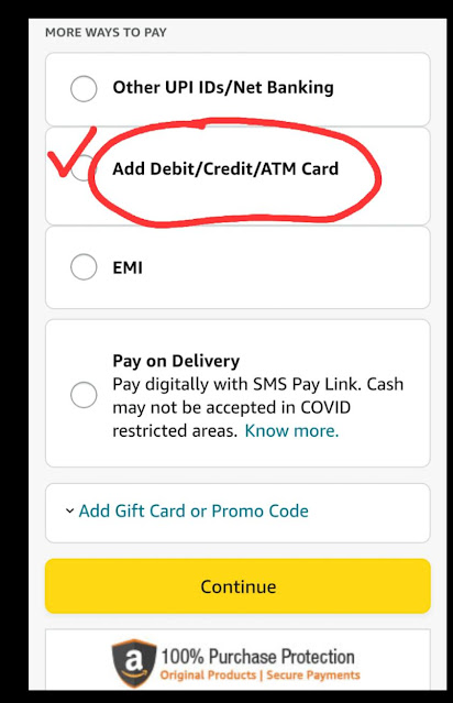 Online shopping site payment mode