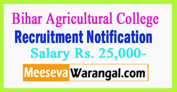 Bihar Agricultural College Recruitment Notification 2017