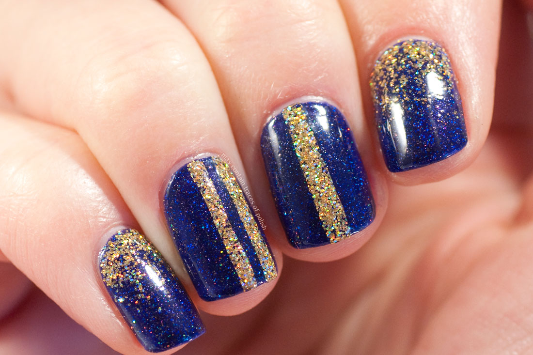 Simple Gold and Blue New Year's Eve Manicure with FUN Lacquer