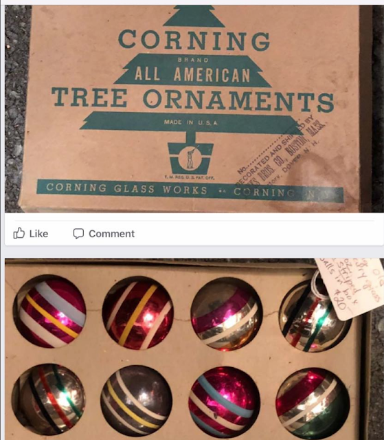 Corning glass Christmas balls, striped, silvered, and colored
