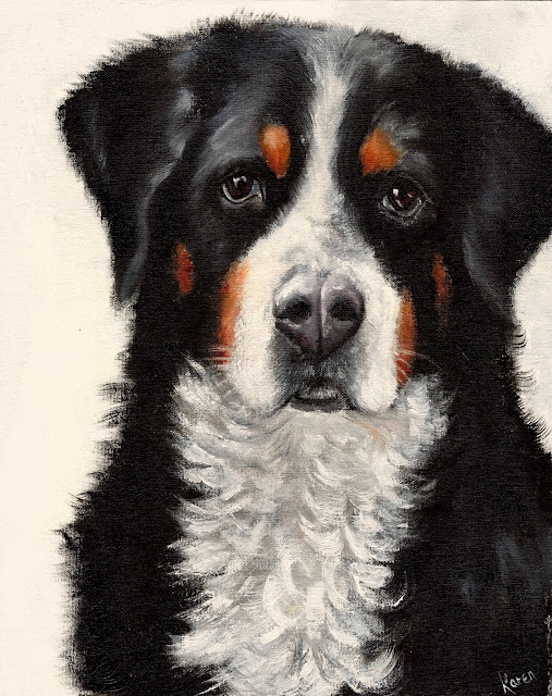 oil painting, pet portrait, Bernese Mountain Dog