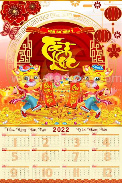File âm lịch 12 tháng năm 2022 vector psd