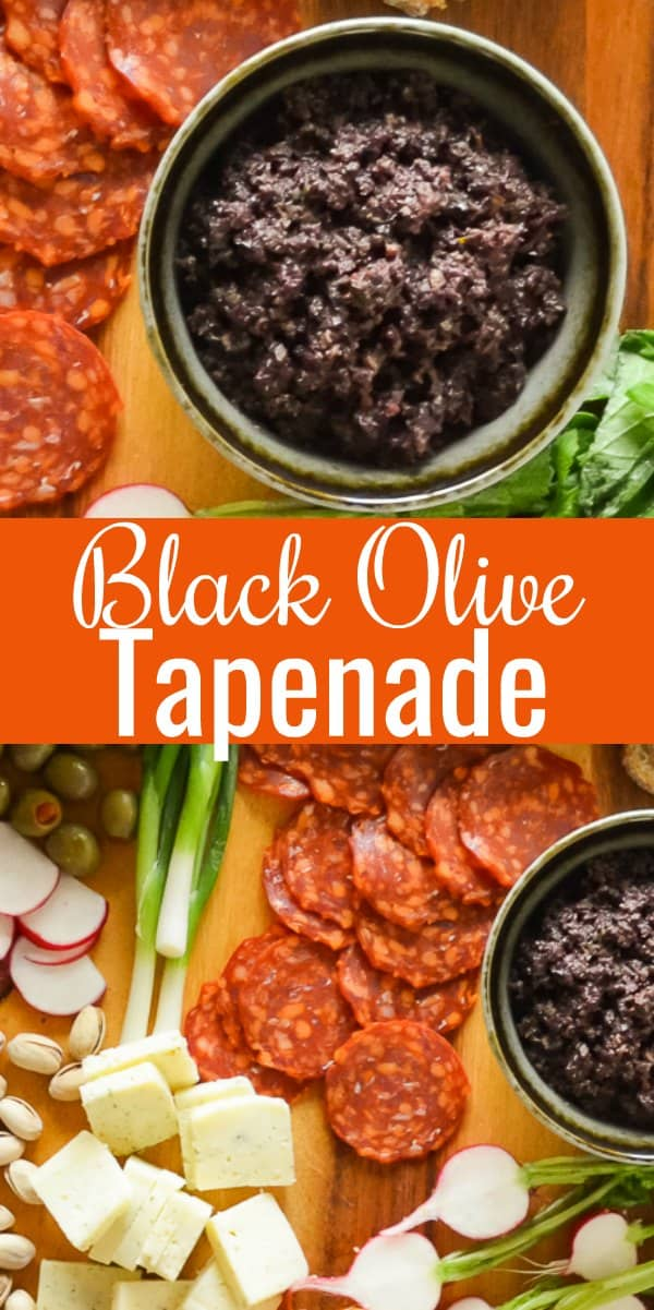 Easy Black Olive Tapenade recipe is a delicious appetizer or sandwich spread. A favorite on Charcuterie boards for crackers to go with cheese from Serena Bakes Simply From Scratch.