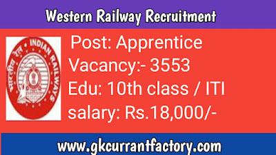 Western Railway Apprentice Recruitment, Western Railway recruitment