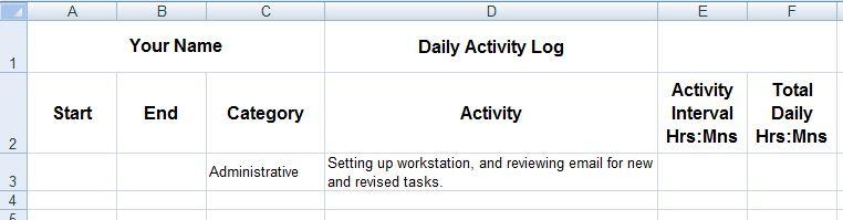 figure 1 formatting your base log spreadsheet